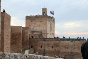 Alcazaba flags on the tower